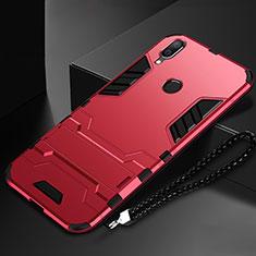 Huawei Nova Lite 3用ハイブリットバンパーケース スタンド プラスチック 兼シリコーン カバー ファーウェイ レッド