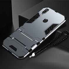 Huawei Nova Lite 3用ハイブリットバンパーケース スタンド プラスチック 兼シリコーン カバー ファーウェイ グレー
