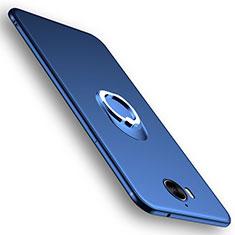 Huawei Nova Young用極薄ソフトケース シリコンケース 耐衝撃 全面保護 アンド指輪 ファーウェイ ネイビー