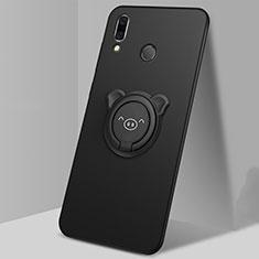 Huawei P Smart (2019)用極薄ソフトケース シリコンケース 耐衝撃 全面保護 アンド指輪 マグネット式 バンパー ファーウェイ ブラック