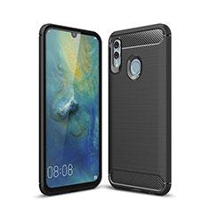 Huawei P Smart (2019)用シリコンケース ソフトタッチラバー ツイル カバー ファーウェイ ブラック