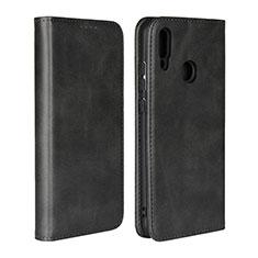 Huawei P Smart (2019)用手帳型 レザーケース スタンド カバー L06 ファーウェイ ブラック