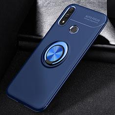 Huawei P Smart (2019)用極薄ソフトケース シリコンケース 耐衝撃 全面保護 アンド指輪 マグネット式 バンパー A01 ファーウェイ ネイビー
