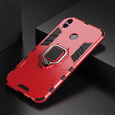 Huawei P Smart (2019)用ハイブリットバンパーケース プラスチック アンド指輪 兼シリコーン カバー ファーウェイ レッド