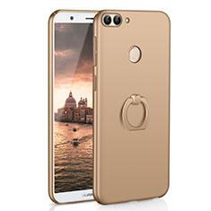 Huawei P Smart用ハードケース プラスチック 質感もマット アンド指輪 A01 ファーウェイ ゴールド