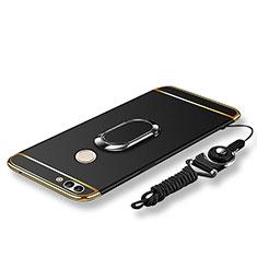 Huawei P Smart用ケース 高級感 手触り良い メタル兼プラスチック バンパー アンド指輪 亦 ひも ファーウェイ ブラック