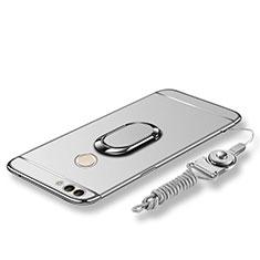 Huawei P Smart用ケース 高級感 手触り良い メタル兼プラスチック バンパー アンド指輪 亦 ひも ファーウェイ シルバー