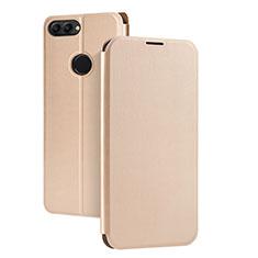 Huawei P Smart用手帳型 レザーケース スタンド ファーウェイ ゴールド