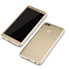 Huawei P Smart用ハードケース プラスチック 質感もマット 前面と背面 360度 フルカバー ファーウェイ ゴールド