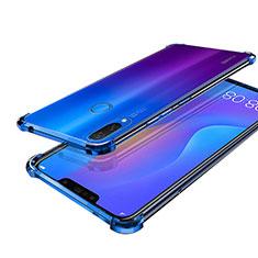 Huawei P Smart+ Plus用極薄ソフトケース シリコンケース 耐衝撃 全面保護 クリア透明 H01 ファーウェイ ネイビー