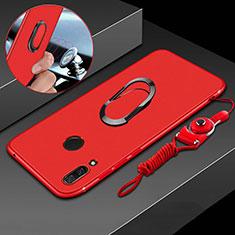 Huawei P Smart+ Plus用極薄ソフトケース シリコンケース 耐衝撃 全面保護 アンド指輪 マグネット式 バンパー ファーウェイ レッド