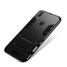 Huawei P Smart+ Plus用ハイブリットバンパーケース スタンド プラスチック 兼シリコーン カバー ファーウェイ ブラック