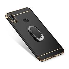 Huawei P Smart+ Plus用ケース 高級感 手触り良い メタル兼プラスチック バンパー アンド指輪 A01 ファーウェイ ブラック