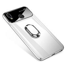 Huawei P Smart+ Plus用ハードケース プラスチック 鏡面 360度 フルカバー アンド指輪 マグネット式 ファーウェイ ホワイト