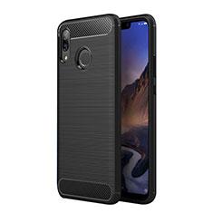 Huawei P Smart+ Plus用シリコンケース ソフトタッチラバー ツイル ファーウェイ ブラック