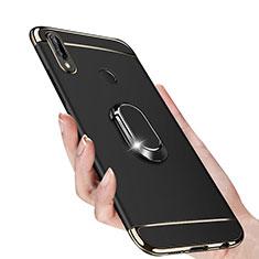 Huawei P Smart+ Plus用ケース 高級感 手触り良い メタル兼プラスチック バンパー アンド指輪 マグネット式 ファーウェイ ブラック