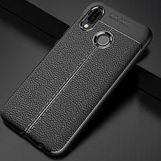 Huawei P Smart+ Plus用シリコンケース ソフトタッチラバー レザー柄 ファーウェイ ブラック