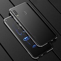 Huawei P Smart+ Plus用ケース 高級感 手触り良い アルミメタル 製の金属製 360度 フルカバーバンパー 鏡面 カバー ファーウェイ ブラック