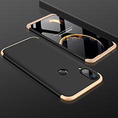 Huawei P Smart+ Plus用ハードケース プラスチック 質感もマット 前面と背面 360度 フルカバー ファーウェイ ゴールド・ブラック