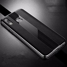Huawei P Smart+ Plus用シリコンケース ソフトタッチラバー レザー柄 S01 ファーウェイ ブラック