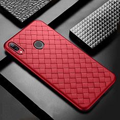 Huawei P Smart+ Plus用シリコンケース ソフトタッチラバー レザー柄 S02 ファーウェイ レッド