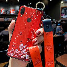 Huawei P Smart Z用シリコンケース ソフトタッチラバー 花 カバー ファーウェイ レッド