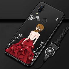 Huawei P Smart Z用ハイブリットバンパーケース プラスチック ドレスガール ドレス少女 鏡面 カバー ファーウェイ レッド・ブラック