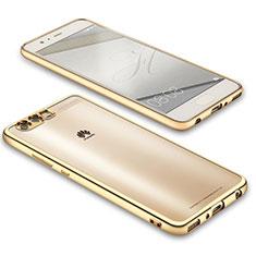 Huawei P10用極薄ソフトケース シリコンケース 耐衝撃 全面保護 クリア透明 U02 ファーウェイ ゴールド