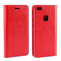 Huawei P10 Lite用手帳型 レザーケース スタンド カバー ファーウェイ レッド