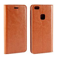 Huawei P10 Lite用手帳型 レザーケース スタンド カバー ファーウェイ オレンジ