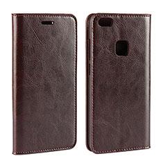 Huawei P10 Lite用手帳型 レザーケース スタンド カバー ファーウェイ ブラウン