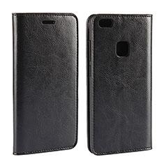 Huawei P10 Lite用手帳型 レザーケース スタンド カバー ファーウェイ ブラック