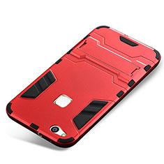 Huawei P10 Lite用ハイブリットバンパーケース スタンド プラスチック 兼シリコーン カバー ファーウェイ レッド
