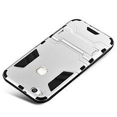 Huawei P10 Lite用ハイブリットバンパーケース スタンド プラスチック 兼シリコーン カバー ファーウェイ シルバー