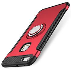 Huawei P10 Lite用ハイブリットバンパーケース プラスチック アンド指輪 兼シリコーン カバー ファーウェイ レッド