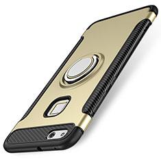 Huawei P10 Lite用ハイブリットバンパーケース プラスチック アンド指輪 兼シリコーン カバー ファーウェイ ゴールド