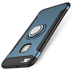 Huawei P10 Lite用ハイブリットバンパーケース プラスチック アンド指輪 兼シリコーン カバー ファーウェイ ネイビー