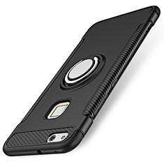 Huawei P10 Lite用ハイブリットバンパーケース プラスチック アンド指輪 兼シリコーン カバー ファーウェイ ブラック