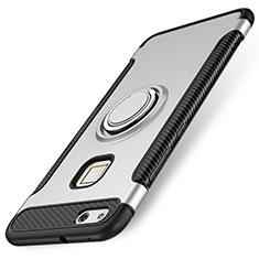 Huawei P10 Lite用ハイブリットバンパーケース プラスチック アンド指輪 兼シリコーン カバー ファーウェイ シルバー