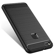Huawei P10 Lite用シリコンケース ソフトタッチラバー ファーウェイ ブラック