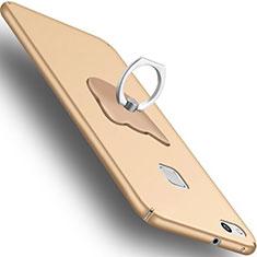 Huawei P10 Lite用ハードケース プラスチック 質感もマット アンド指輪 C01 ファーウェイ ゴールド