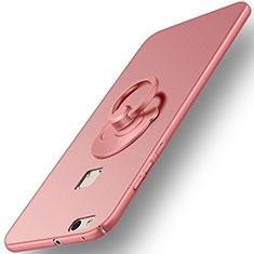 Huawei P10 Lite用ハードケース プラスチック 質感もマット アンド指輪 ファーウェイ ローズゴールド