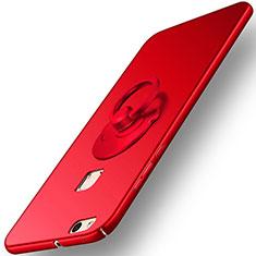 Huawei P10 Lite用ハードケース プラスチック 質感もマット アンド指輪 ファーウェイ レッド