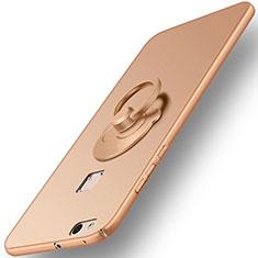 Huawei P10 Lite用ハードケース プラスチック 質感もマット アンド指輪 ファーウェイ ゴールド