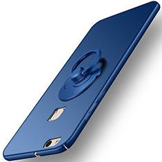 Huawei P10 Lite用ハードケース プラスチック 質感もマット アンド指輪 ファーウェイ ネイビー