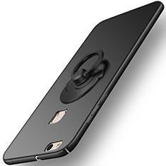 Huawei P10 Lite用ハードケース プラスチック 質感もマット アンド指輪 ファーウェイ ブラック