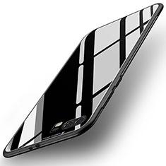Huawei P10 Plus用ハイブリットバンパーケース プラスチック 鏡面 カバー ファーウェイ ブラック