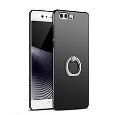 Huawei P10 Plus用ハードケース プラスチック 質感もマット アンド指輪 A02 ファーウェイ ブラック