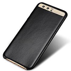 Huawei P10 Plus用ケース 高級感 手触り良いレザー柄 ファーウェイ ブラック
