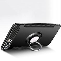Huawei P10 Plus用ハイブリットバンパーケース プラスチック アンド指輪 兼シリコーン ファーウェイ ブラック